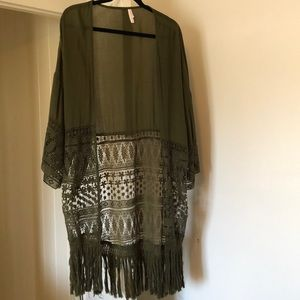 Cute Olive Kimono or Beach Cover Up